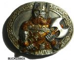 Viking Warrior with Axe Belt Buckle + display stand. Code BK6